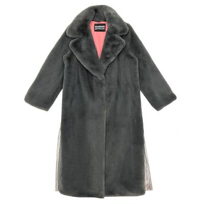 shining side fur coat gray